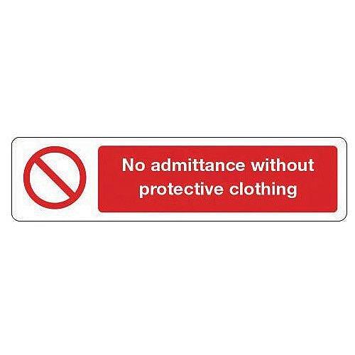Aluminium Mini Prohibition Sign No Admittance Without Protective Clothing