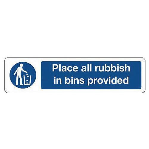 Rigid Plastic Mini Mandatory Safety Sign Place All Rubbish In Bins Provided
