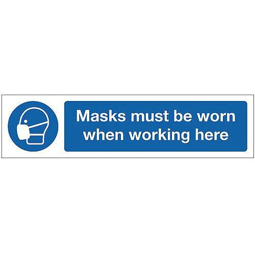 Rigid Plastic Mini Mandatory Safety Sign Masks Must Be Worn When Working Here