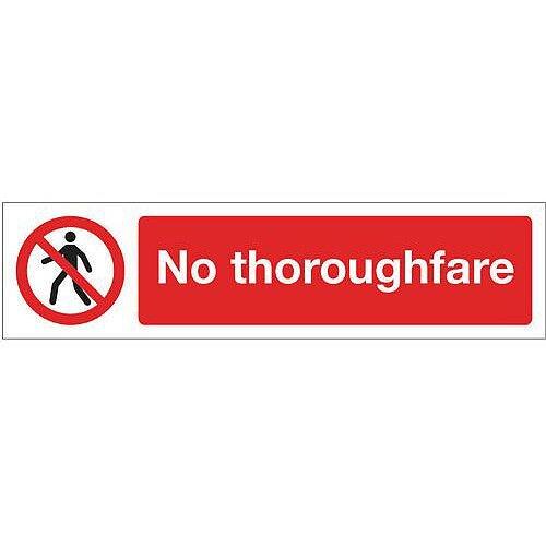 Rigid Plastic Mini Prohibition Sign No Thoroughfare
