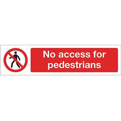 Rigid Plastic Mini Prohibition Sign No Access For Pedestrians
