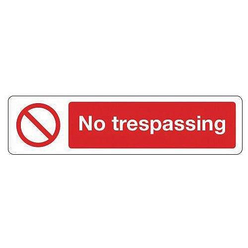 Rigid Plastic Mini Prohibition Sign No Trespassing
