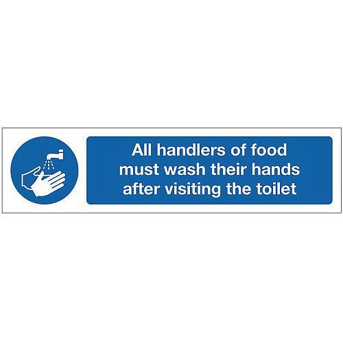 Vinyl Mini Mandatory Safety Sign All Handlers Of Food Must Wash Their Hands After Visiting The Toilet