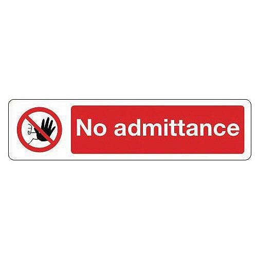 Vinyl Mini Prohibition Sign No Admittance 200 x 50mm