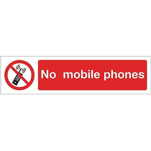Vinyl Mini Prohibition Sign No Mobile Phones 200 x 50mm