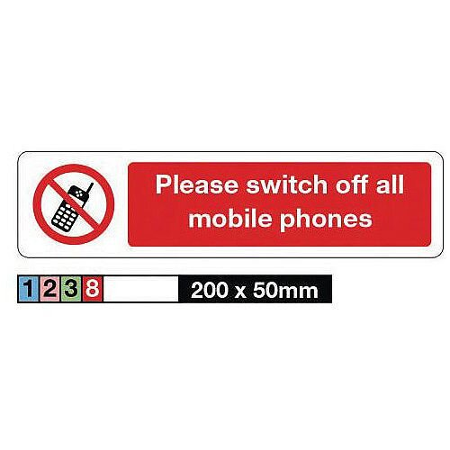 Vinyl Mini Prohibition Sign Please Switch Off All Mobile Phones