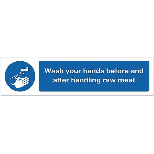 PVC Mini Mandatory Safety Sign Wash Your Hands Before Handling Raw Meat
