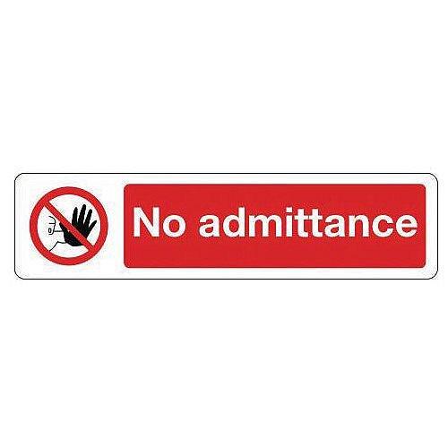 PVC Mini Prohibition Sign No Admittance