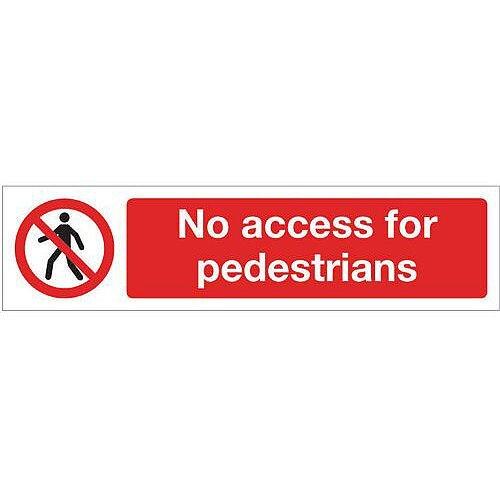PVC Mini Prohibition Sign No Access For Pedestrians