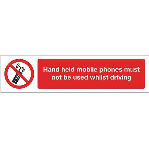 PVC Mini Prohibition Sign Hand Held Mobile Phones Must Not Be Used Whilst Driving