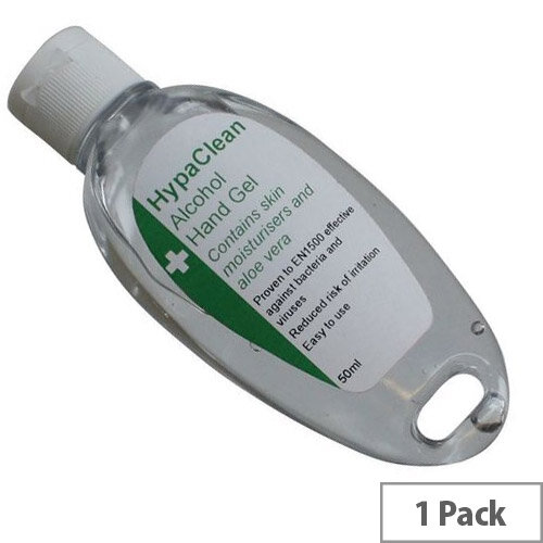 HypaClean Alcohol Hand Gel Sanitizers 50ml Bottle Pack 1