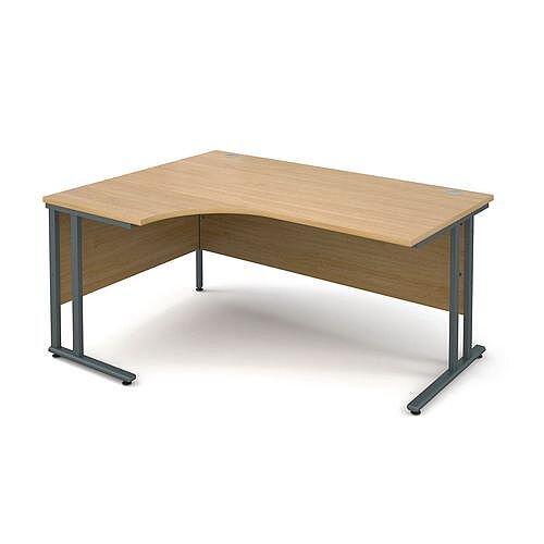1600mm Left Hand Ergonomic Desk Oak With Deluxe Double Graphite Cantilever Legs