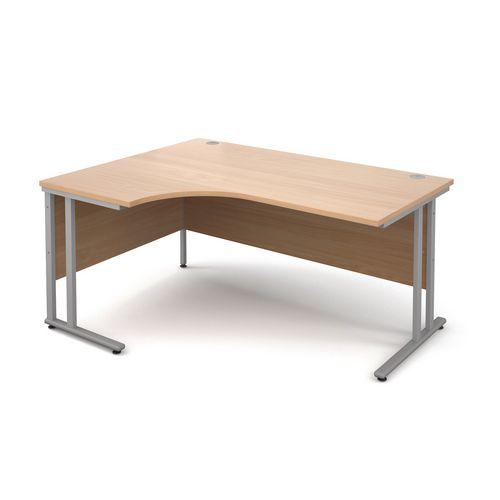 1600 Left Hand Ergonomic Beech Desk With Silver Legs