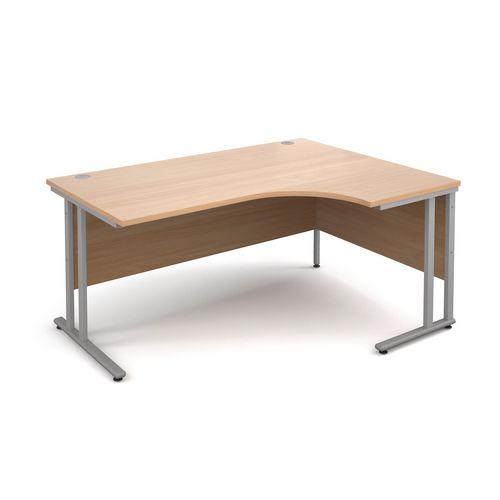 1600 Right Hand Ergonomic Beech Desk With Silver Legs