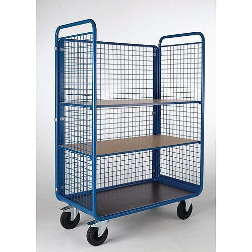 Mesh Sided Shelf Trolley With 3 Shelves Capacity 500kg