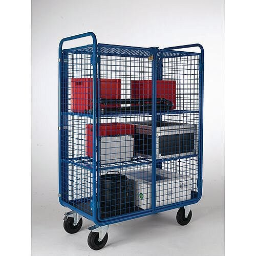 Mesh Sided Shelf Trolley With Security Gates Top &3 Shelves Capacity 500kg