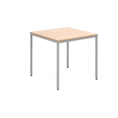 Square 800 X 800mm Genral Table Silver Leg Frame Beech