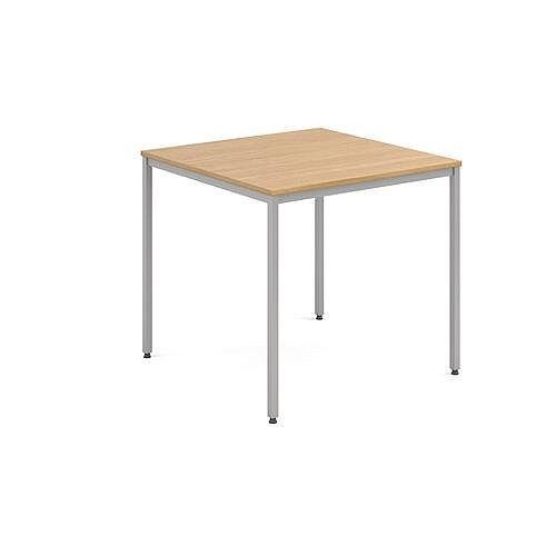Square 800 X 800mm Genral Table Silver Leg Frame Oak