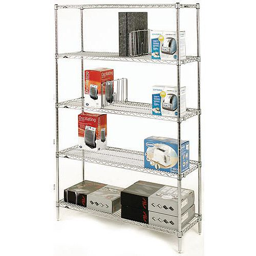 Olympic Chrome Wire Shelving System 1895mm High Starter Unit WxD 1524x356mm 5 Shelves &4 Posts 275kg Shelf Capacity