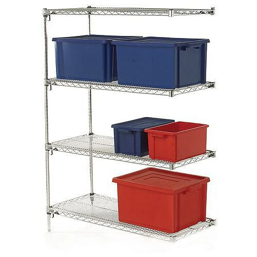 Metro Quick Adjusting Chrome Wire Shelving System 1590mm High Add-On Unit WxD 1219x356mm 4 Shelves &2 Posts 350kg Shelf Capacity
