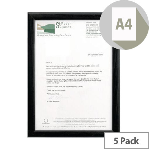 Black Wood Finish A4 Certificate Frame 5 Pack