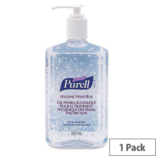 Purell Advanced Hygienic Hand Sanitisers Gel Rub Pump Bottle 350ml (Pack 1)