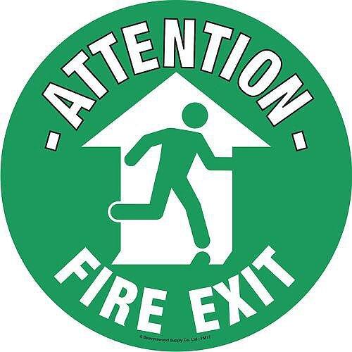 Floor Graphic Marker Fire Exit Sign 430mm Diameter