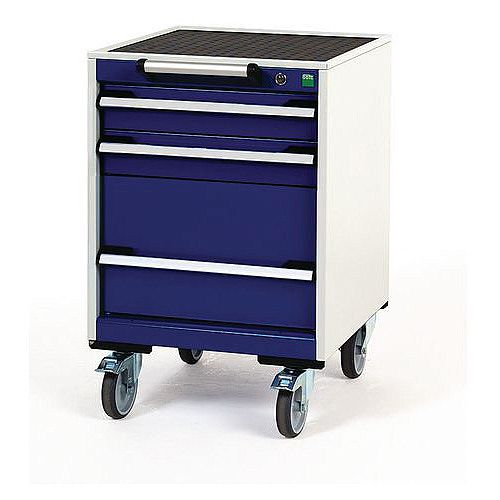 Heavy Duty Mobile Cabinet 2x100mm And 1x300mm Drawers H x W x D mm: 780 x 525 x 525
