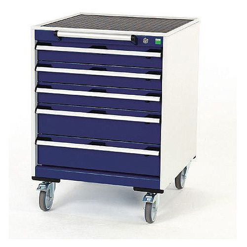 Heavy Duty Mobile Cabinet 3x100mm And 2x150mm Drawers H x W x D mm: 880 x 650 x 650