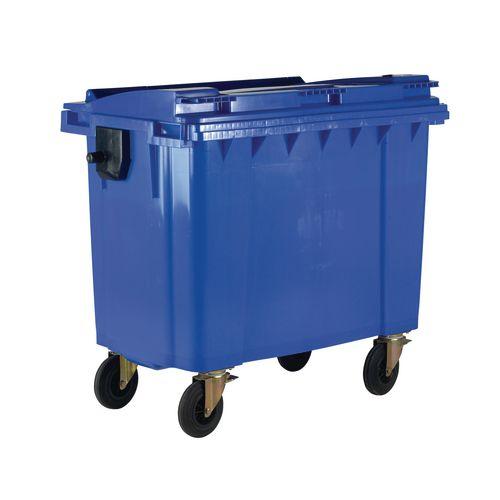 4-Wheel Wheelie Bin With Lockable Lid 660L Blue