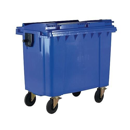 4-Wheel Wheelie Bin With Lid 1100L Blue