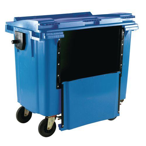 4-Wheel Wheelie Bin Drop Down Front 1100L Blue