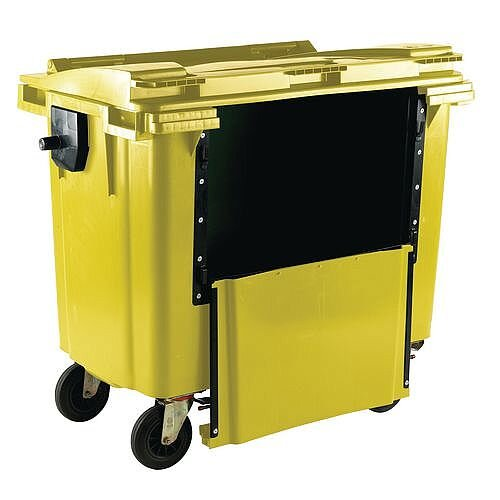 4-Wheel Wheelie Bin Drop Down Front 1100L Yellow