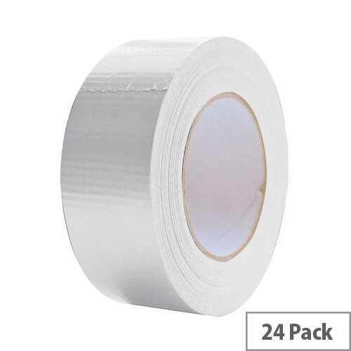 Cloth Tape 50mm X 50M White Duct Tape Pack of 24