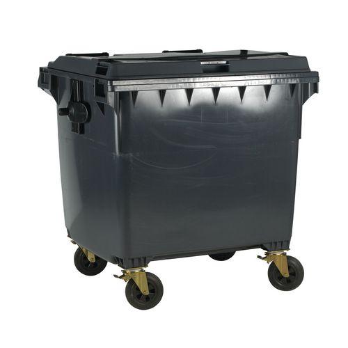 4-Wheel Wheelie Bin With Lockable Lid 1100L Grey
