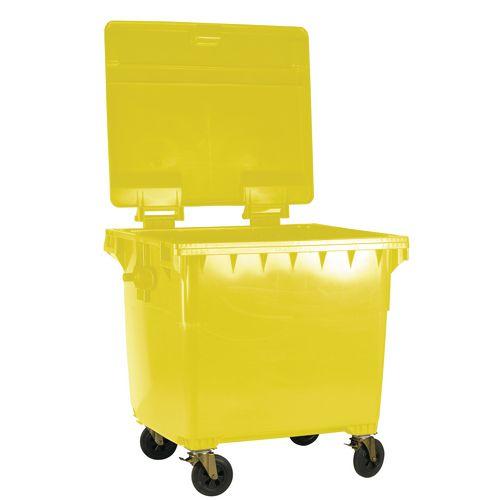 4-Wheel Wheelie Bin With Lockable Lid 1100L Yellow