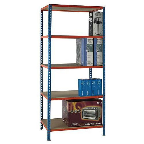 Simonclick Standard Duty Boltless Chipboard 5 Shelf Unit HxWxD 2000x900x500mm - 200kg Shelf Capacity, 5 Year Guarantee
