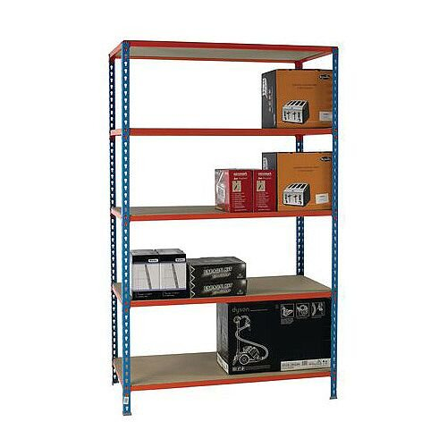 Simonclick Standard Duty Boltless Chipboard 5 Shelf Unit HxWxD 2000x1200x300mm - 175kg Shelf Capacity, 5 Year Guarantee