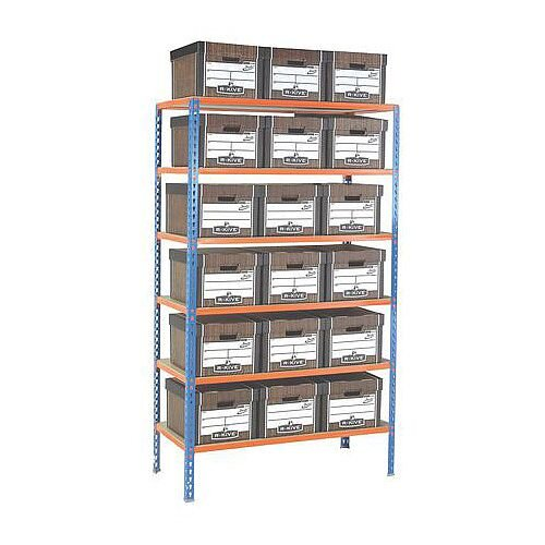 Regular Duty Archive Storage Complete With 18 R-Kive Woodgrain Boxes