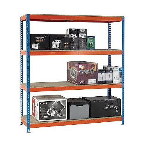 2m High Heavy Duty Boltless Chipboard Shelving Unit W1800xD600mm 600kg Shelf Capacity With 4 Shelves - 5 Year Warranty