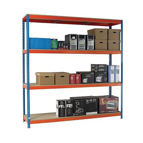 2.5m High Heavy Duty Boltless Chipboard Shelving Unit W1800xD600mm 600kg Shelf Capacity With 4 Shelves - 5 Year Warranty
