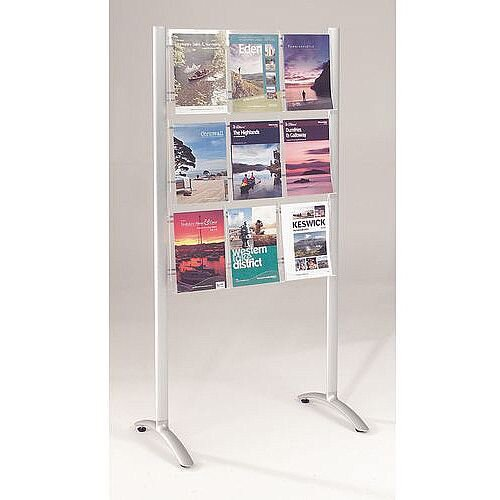 Freestanding Acrylic Brochure Dispensers 9 A4 Pockets - 18 Sheets
