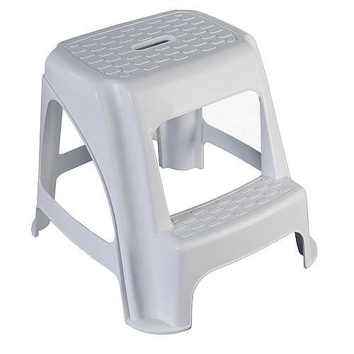 Plastic 2 Tread Step Up Stool Grey