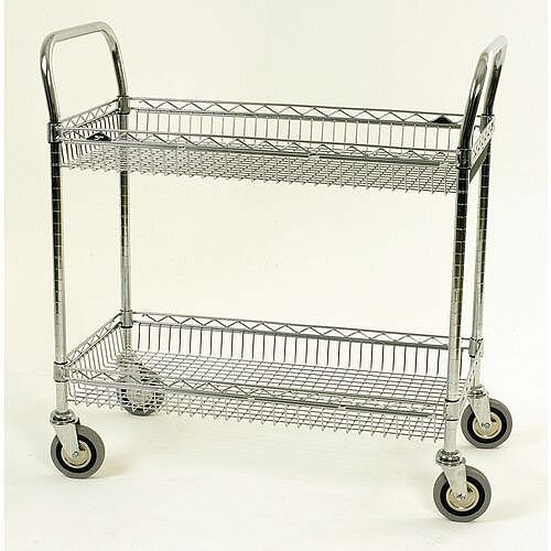 Chrome Basket Shelf Trolley Two Tier Trolley Shelf Width 1219Mm Capacity 200kg