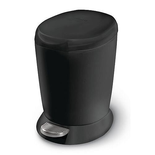 Mini Plastic Waste Pedal Bin Black 6L
