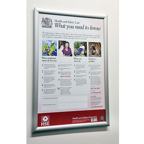 Health &Safety Poster Witha2 Silver Aluminium Snapframe
