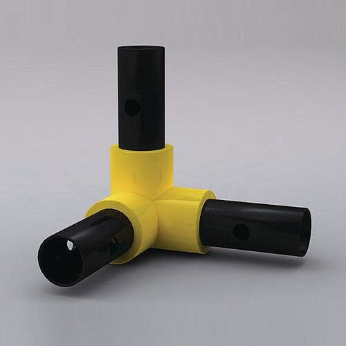 Pvc Coated Handrail System Fitting 3 Way Corner Huntofficeie