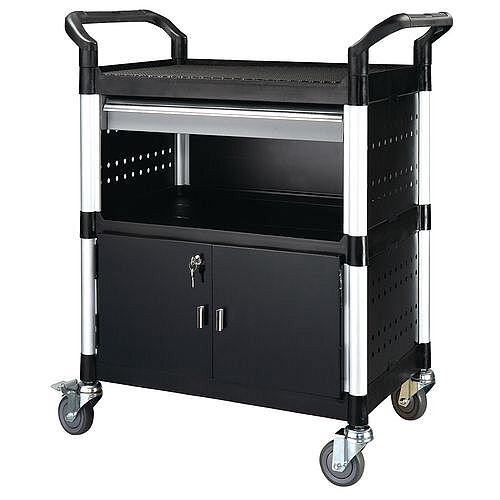 Plastic Tray Trolley With Drawers With 3 Shelves 1 Drawer Capacity 250kg