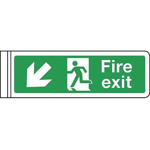 Wall Mounted Double Sided Signs Arrow Down HxW 100x300mm