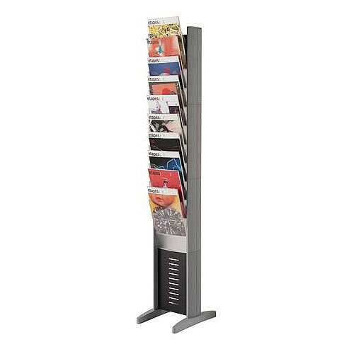 Silver Free-Standing Display Tower Single Sided 10xA4 Pockets